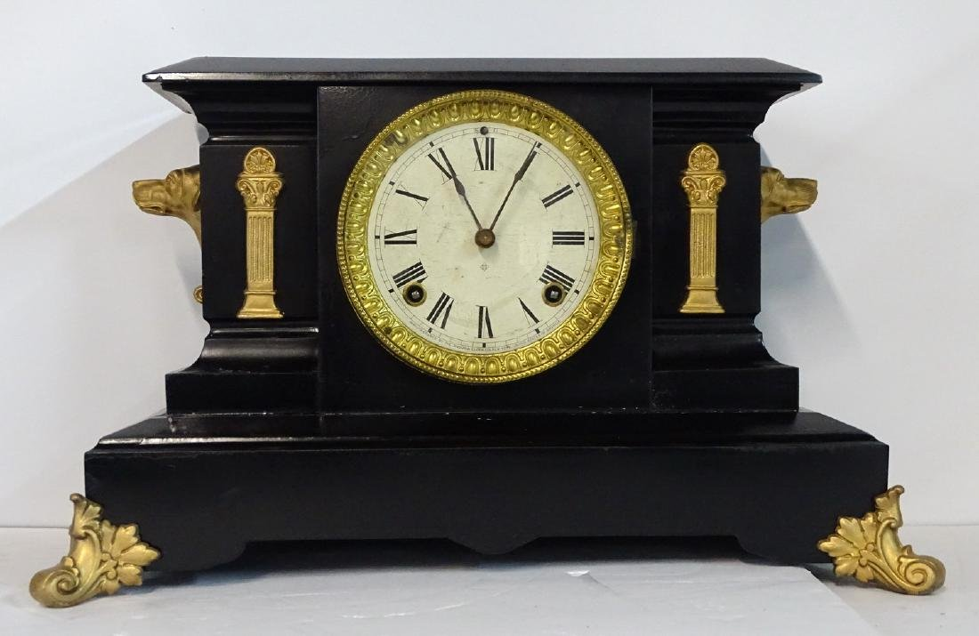 """ANSONIA METAL MANTLE CLOCK WITH DOG HEAD MOUNTS  10.5""""H"""
