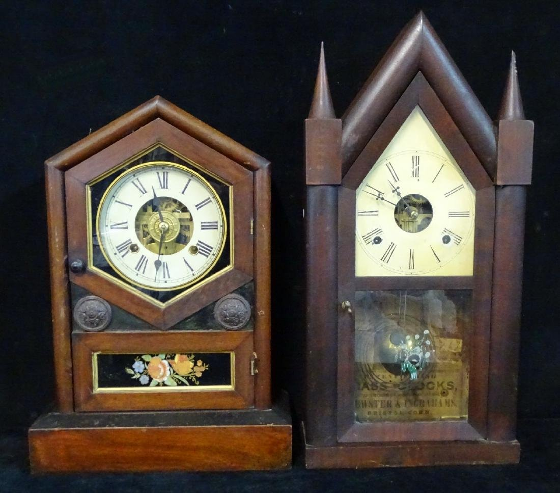 2 CLOCKS: JEROME & CO. & INGRAHAM STEEPLE CLOCK WITH