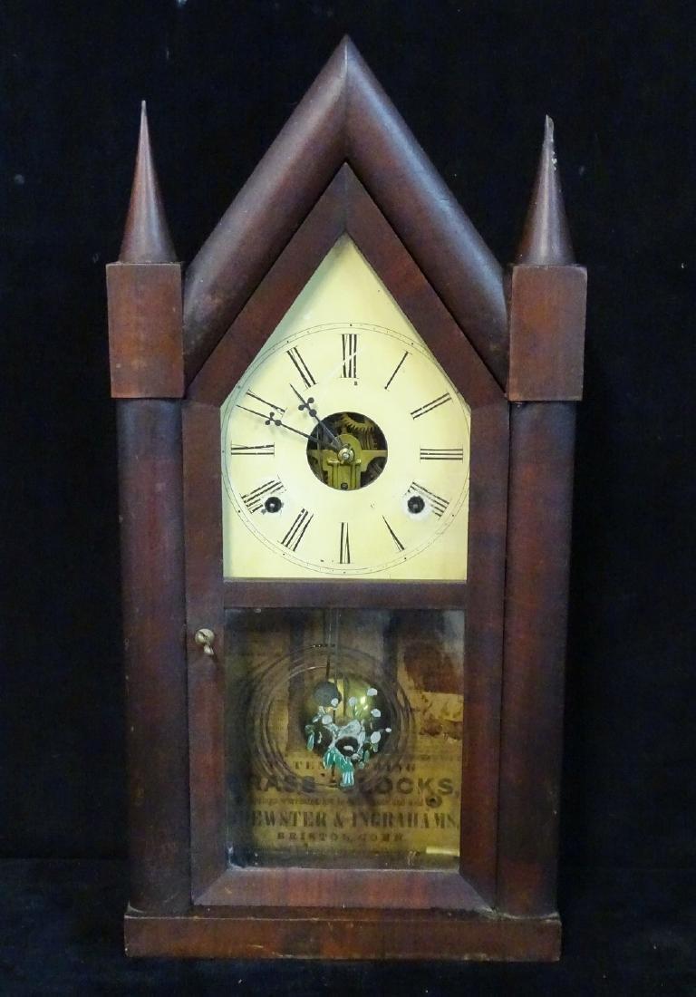 2 CLOCKS: JEROME & CO. & INGRAHAM STEEPLE CLOCK WITH - 7