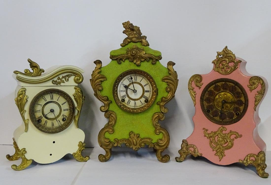 3 CLOCKS: F.K. ROEBER CO. 1894  & 2 ANSONIA METAL
