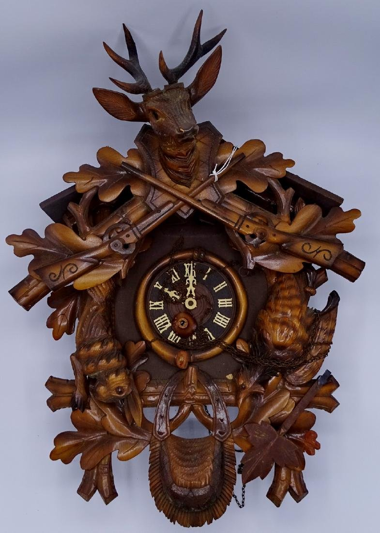 CUCKOO CLOCK WITH GAME MOTIF