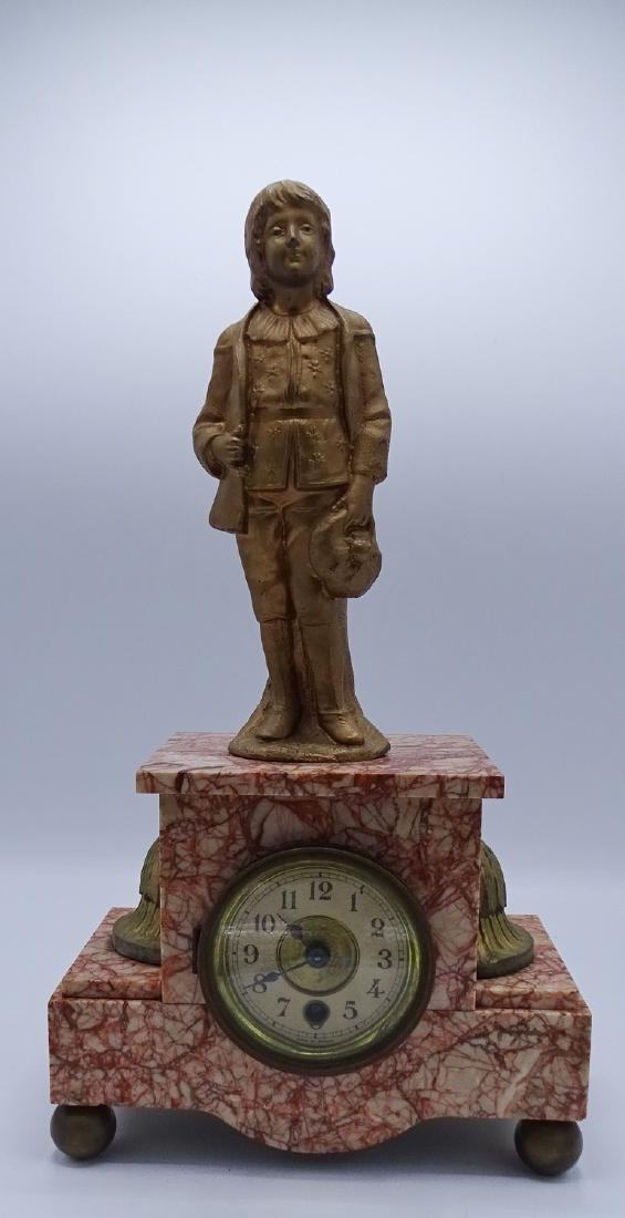 FRENCH FIGURAL MARBLE MANTLE CLOCK
