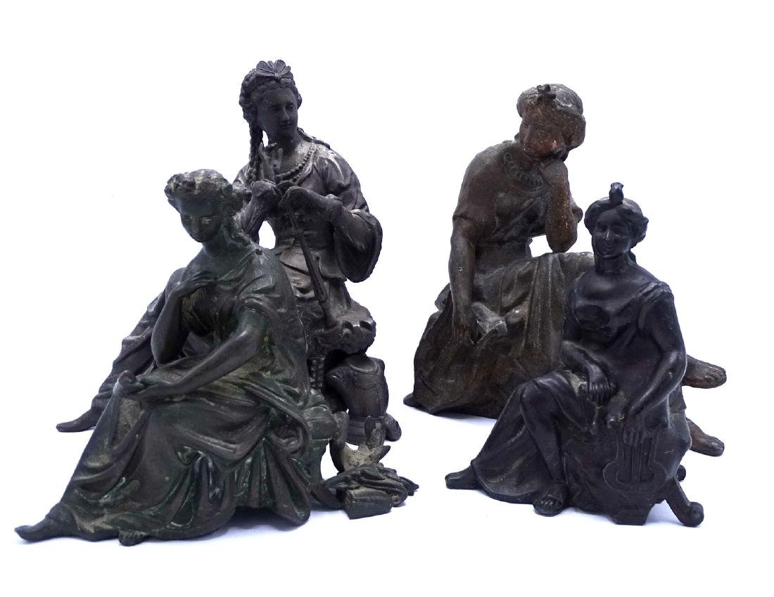 GROUP 4 FEMALE FIGURAL WHITE METAL CLOCK TOPPERS