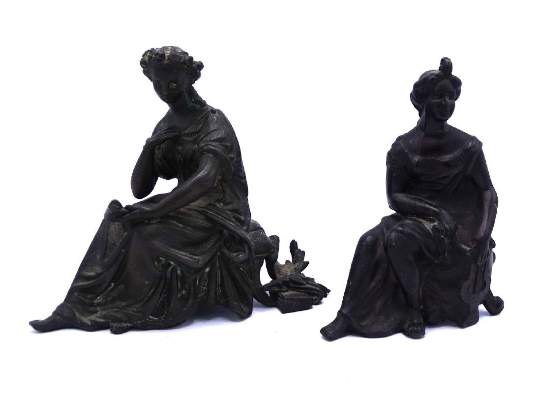 GROUP 4 FEMALE FIGURAL WHITE METAL CLOCK TOPPERS - 8
