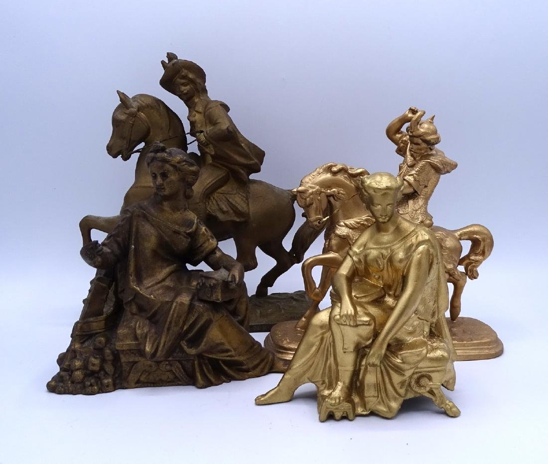 GROUP 4 GILT METAL FIGURAL CLOCK TOPPERS