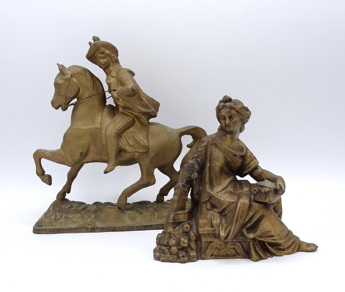 GROUP 4 GILT METAL FIGURAL CLOCK TOPPERS - 2