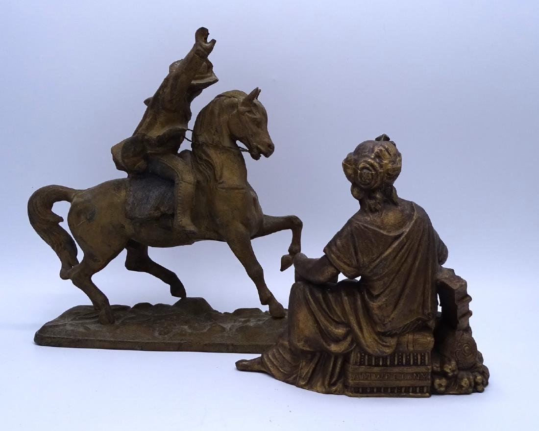 GROUP 4 GILT METAL FIGURAL CLOCK TOPPERS - 3