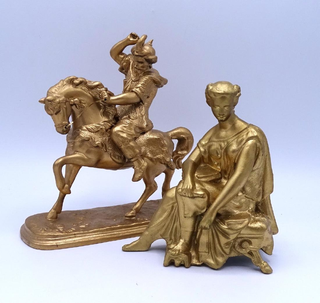GROUP 4 GILT METAL FIGURAL CLOCK TOPPERS - 5