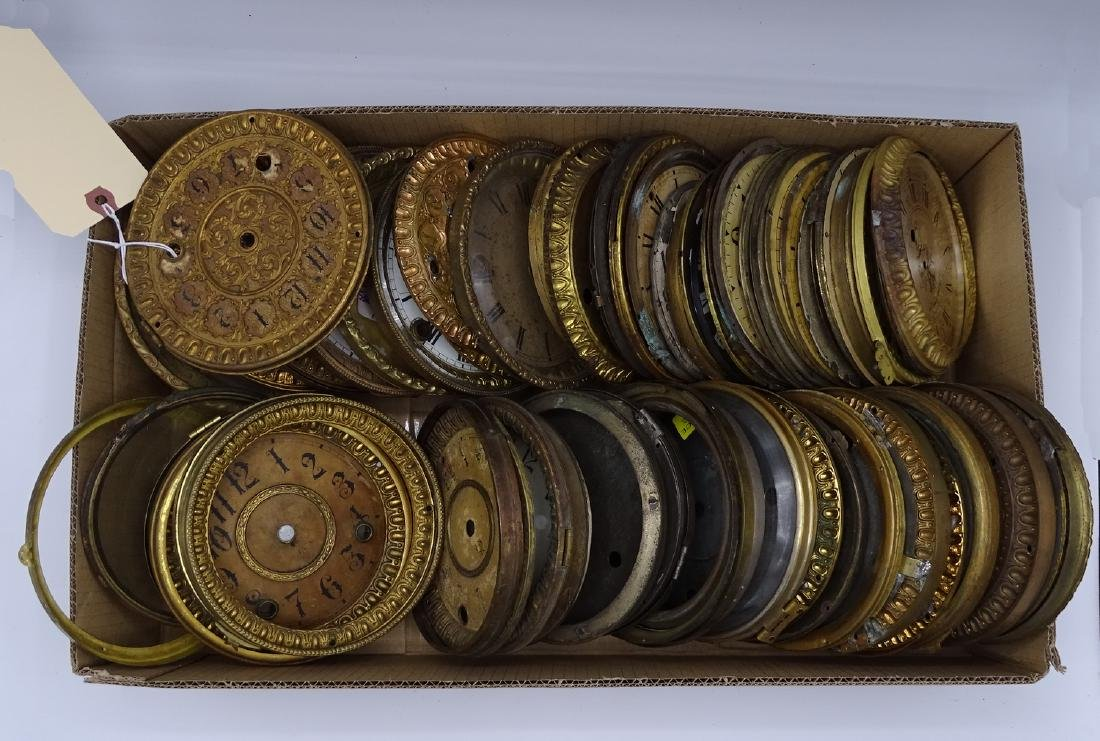 LARGE LOT CLOCK FACES SOME WITH BEZELS & DIALS