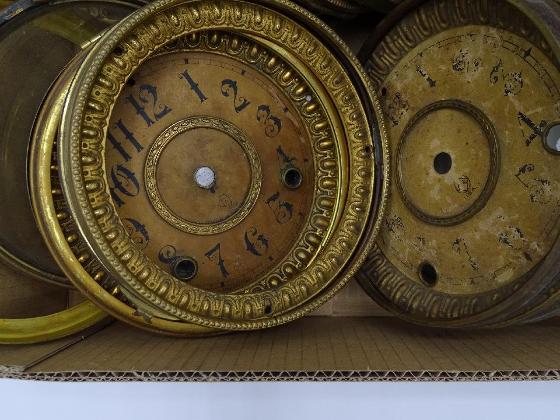 LARGE LOT CLOCK FACES SOME WITH BEZELS & DIALS - 2