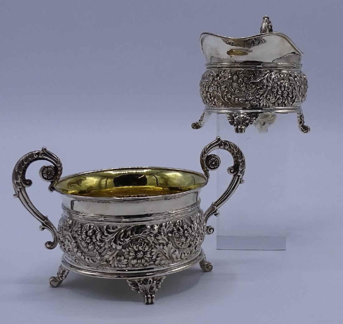 TIFFANY & CO. MAKERS REPOUSSE SUGAR & CREAMER APPRX.