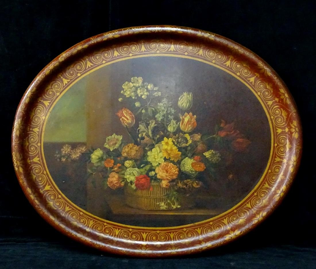 FLORAL DECORATED PAPIER MACHE TRAY