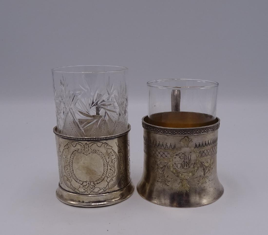 2 RUSSIAN SILVER CUP HOLDERS WITH GLASS LINERS APPRX. - 3