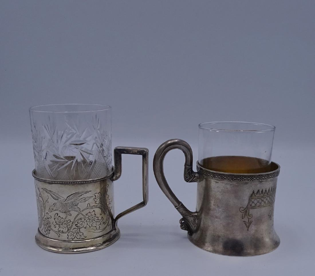2 RUSSIAN SILVER CUP HOLDERS WITH GLASS LINERS APPRX. - 4