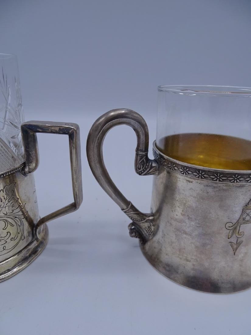 2 RUSSIAN SILVER CUP HOLDERS WITH GLASS LINERS APPRX. - 5