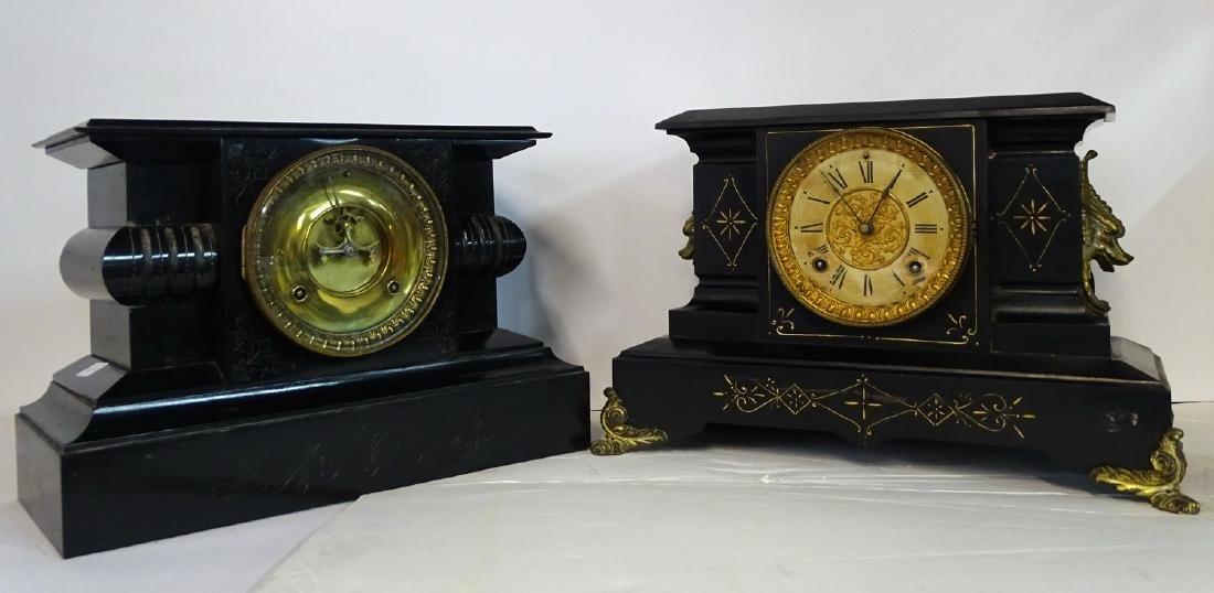 2 ANSONIA METAL MANTLE CLOCKS