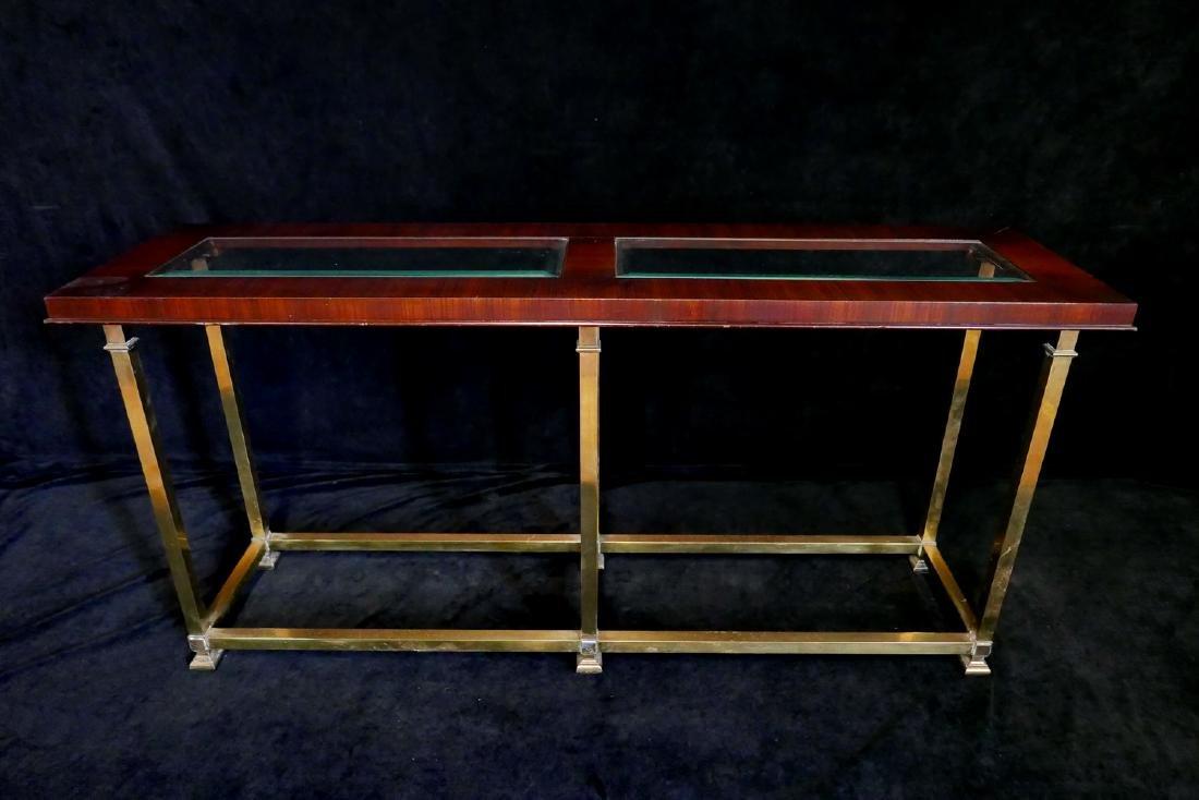MACASSAR & BRASS SOFA TABLE