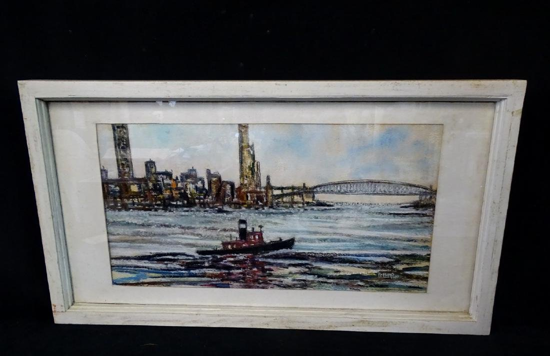 W. PETTIPAS SGN. MIXED MEDIA HARBOR VIEW