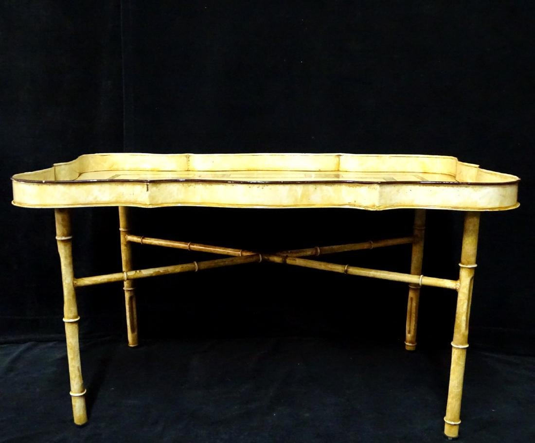 DECORATED ITALIAN TOLE TRAY ON FAUX BAMBOO STAND