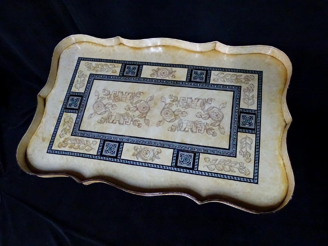 DECORATED ITALIAN TOLE TRAY ON FAUX BAMBOO STAND - 2