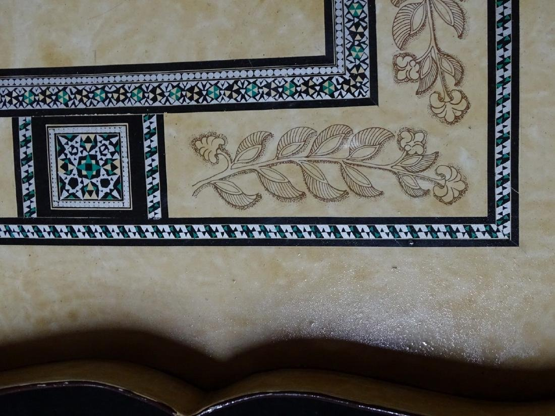 DECORATED ITALIAN TOLE TRAY ON FAUX BAMBOO STAND - 3