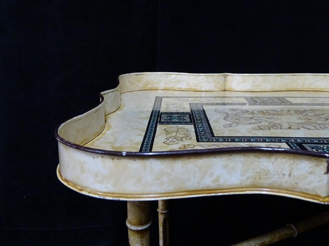 DECORATED ITALIAN TOLE TRAY ON FAUX BAMBOO STAND - 4