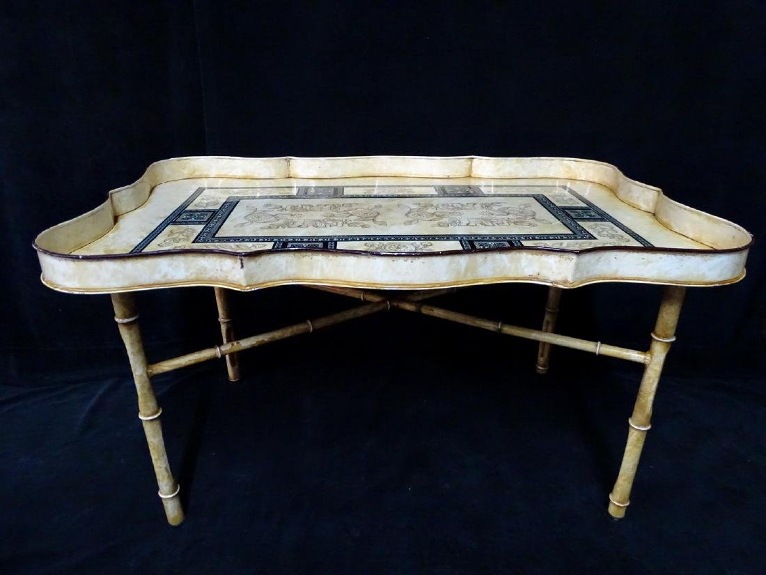 DECORATED ITALIAN TOLE TRAY ON FAUX BAMBOO STAND - 5