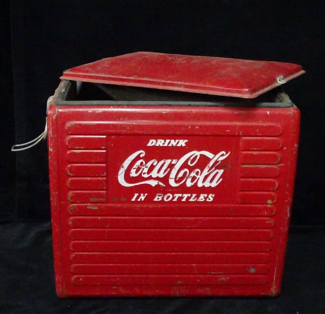 VINTAGE COCA COLA COOLER & BOTTLES - 7