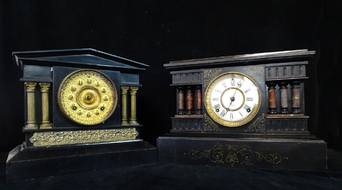 2 ANSONIA METAL MANTLE CLOCKS ONE WITH GILT METAL COLUM