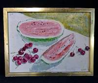 GEORGE SPECK SGN OIL ON CANVAS STILL LIFE FRUIT