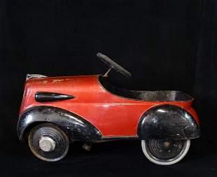 VINTAGE RED & BLACK  PEDAL CAR