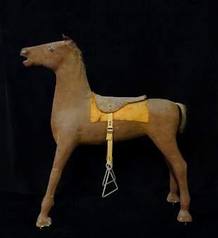PAPIER MACHE HORSE WITH RUST BLANKET