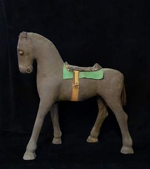 "PAPIER MACHE HORSE WITH GREEN BLANKET 29""H 27""L"