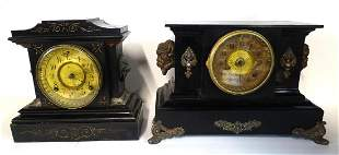 2 ANSONIA METAL MANTLE CLOCKS W/LION & BUFFALO FIGURAL