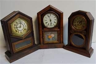 3 WOOD SHELF CLOCKS  INC..  INGRAHAM, &  ANSONIA