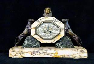 FRENCH ART DECO FIGURAL BRONZE & MARBLE CLOCK