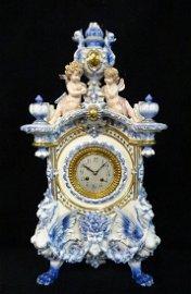 GUSTAV BECKER FIGURAL PORCELAIN CLOCK