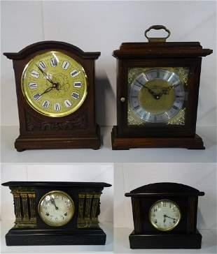 4 WOOD MANTEL CLOCKS (1) SETH THOMAS (1) WATERBURY WITH