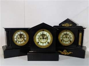 3 ANSONIA METAL MANTEL CLOCKS WITH OPEN ESCAPEMNTS (2)