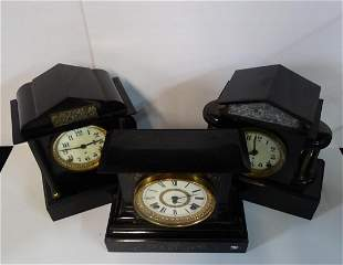 3 ANSONIA METAL MANTEL CLOCKS (2) WITH FIGURAL RELIEF