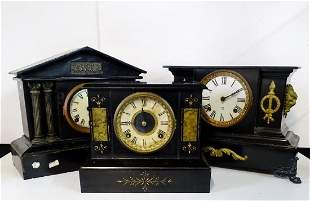 3 ANSONIA METAL MANTEL CLOCKS (1) WITH FAUX MARBLE