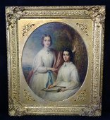 OIL ON CANVAS PORTRAIT OF TWO WOMEN