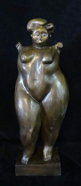 AFTER BOTERO BRONZE FEMALE NUDE SGN. F. BOTERO