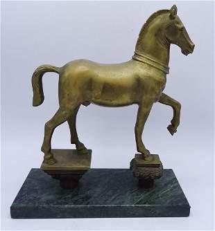 BRONZE HORSE ON VERDI MARBLE BASE