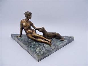 SGN. BRONZE SEATED FEMALE NUDE WITH DOG