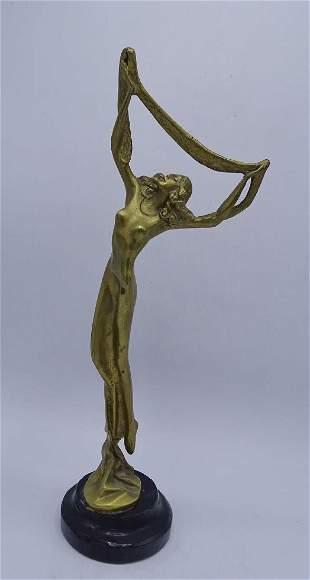 BRONZE FEMALE DANCER ON MARBLE BASE