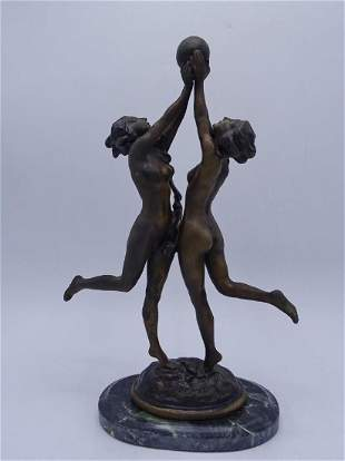 S. HERMAN SGN. BRONZE FEMALES WITH BALL