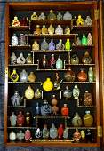 LARGE COLLECTION 65+ SNUFF BOTTLES WITH DISPLAY CASE