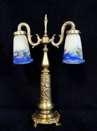 MULLER FRERES BRASS LAMP WITH ART GLASS SHADES