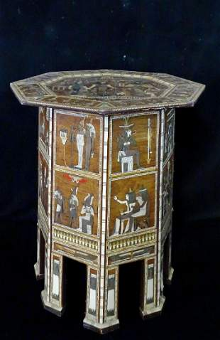 INLAID OCTAGONAL TABLE WITH EGYPTIAN MOTIF